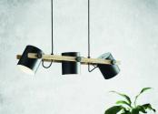 Pendul vintage-industrial Hornwood, EGLO, E27, 3x60W, otel, negru, lemn, maro, 110 x 78 x 21 cm, inaltime reglabila, IP20