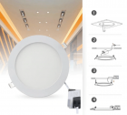 Spot LED, Ultra Bright, 15W, 4200K, lumina neutra, incastrabil, rotund, alb