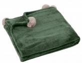 Pătură verde cu ciucuri