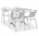 Set mobilier de exterior din aluminiu, argintiu